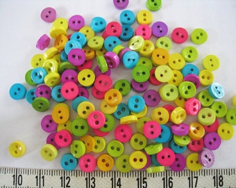 100 pcs of tiny button 6.5mm - Purple Yellow Teal Lime  Hot Pink