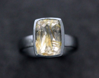 Golden Rutilated Quartz Cocktail Ring, Blackened Sterling Silver and 14k Yellow Gold Size 8.25