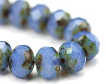 Czech Glass Beads Fire Polished Gemstone Donuts 9x6mm Opal Light Blue Picasso (12) CZF702