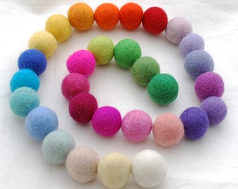 100% Wool Felt Balls - 30 Count - 2.5cm - Assorted Light and Bright Colors