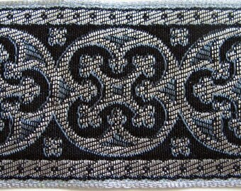 2 yards  BYZANTINE Jacquard trim in metallic antique silver on charcoal grey and black. 1 5/8 inch wide. 958-L