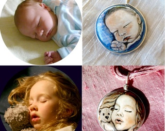 Custom newborn baby or child portrait pendant - fused glass pendant
