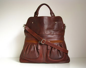 Leather Handbag Tote in Vintage Brown