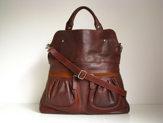 leather handbag tote in vintage brown by theleatherstore