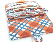 wallet women. coin purse card organizer.  ladies card holder zip zipper. orange plaid cloth teen girls gift idea. hipster