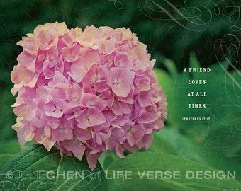 Friendship Gift - Inspirational Art - Friendship Quote - Scripture Art - Bible Verse Art - Proverbs 17 - Friend Loves - FULL COLOR
