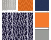 Custom Crib Bedding-3 piece-Navy Herringbone,Orange and Grey