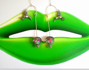 Silver Hummingbird Earrings Hovering over Big Glass Flower Beads