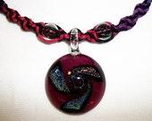 Rainbow Dichroic Glass Vortex Hemp Necklace - Lampwork Glass Hemp Jewelry - Custom Rainbow Colors