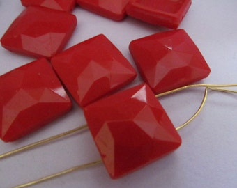 Vintage Glass Two Hole Beads (6) Beautiful Large Red Lipstick Faceted Antique Beads
