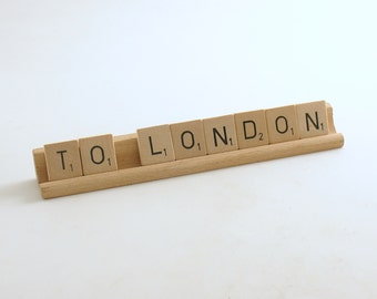 Vintage Wood Scrabble Tiles & Stand To London Travel Gift