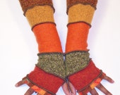 FingerlessGloves, Arm Warmers, Fall Colors, Orange Pattern, Rust, Olive Tweed, Orange, Melon, Sable Brown