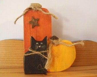 """5"""" 3 Piece Wooden Pumpkin Set"""