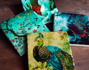 Peacock Blue - stone coaster set