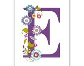 Personalized Children's Wall Art / Nursery Custom Floral Monogram Letter Initial  print by Finny and Zook