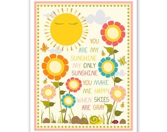 Kids Wall Art / Nursery Decor / Kids Room You Are My Sunshine... print by Finny and Zook