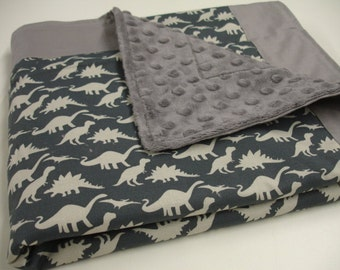 Dinosaur Parade Baby Minky Blanket  You Choose Size and Minky Color MADE TO ORDER No Batting