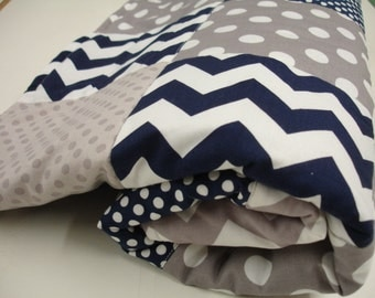 Chevron and Dots in navy and Gray Patchwork Minky Blanket You Choose Size MADE TO ORDER No Batting