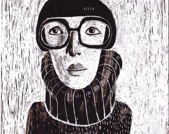 woman with glasses  print