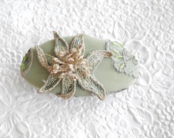 Pale green barrette, silk barrette, bridal barrette, beaded barrette, fabric barrette, oval barrette, hair accessory, fashion accessory