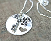 Sterling Silver Key to My Heart Stamped Sterling Silver Disc, Heart Necklace, Metal Stamped Jewelry