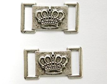 Antiqued Silver Crown Connector Link (6) mtl406B