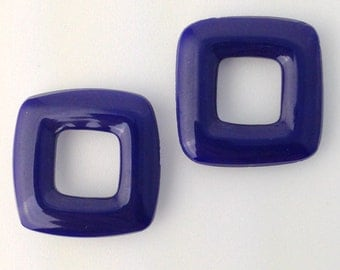 Vintage German Navy Blue Square Glass Link Connector Beads  grm066A