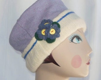 Lilac and cream UPCYCLED Felted Wool  Hat (Size XL)