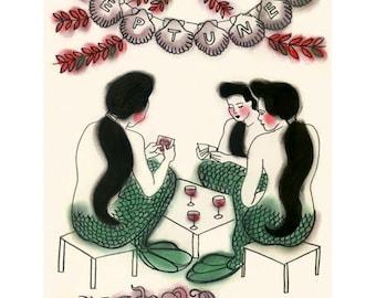 "Mermaid Art print -  Card Game at Neptune's - 8.3"" X 11.8"" -  4 for 3 SALE"