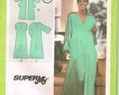 9246 simplicity Misses jiffy pullover caftan with kimono sleeves, pocket, and sleeves sewing pattern size 6, 8 bust 30.5 31.5 vintage 1970s