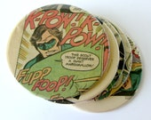 Green Lantern Coasters // Recycled Vintage Comic