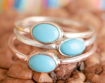 14k Rose Gold and Turquoise Ring| Stacking Rings | Nature Inspired Ring