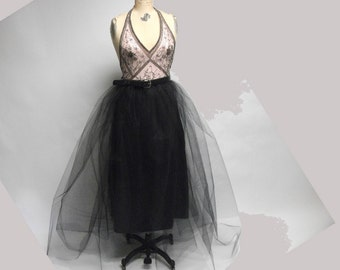 Deconstructed Mixed Media Raw Beaded Ballerina dress OOAK One of a kind