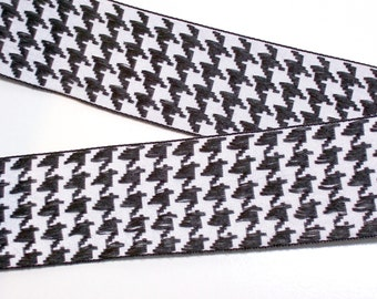 Houndstooth Ribbon, Black and White Houndstooth Embroidered Ribbon 1 1/2 inches wide x 5 yards, Woven Ribbon