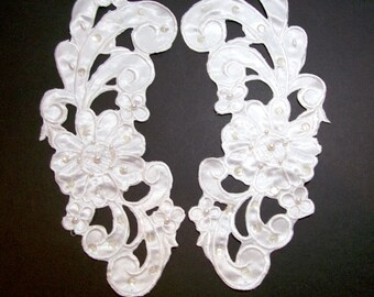 Lace Collar, White Satin Collar Appliques Pearl Beaded Set of 2 Pieces, White Collar Applique