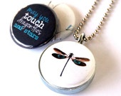 Dragonfly Locket Necklace, Dragonfly Jewelry, Gift for Her, Dragonfly Gift, Magnetic Locket Set, 3 Necklaces in 1, Holds a Picture, Polarity