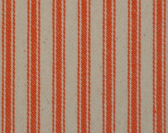 Vintage Inspired Orange Cotton Ticking Stripe Material 34 x 44
