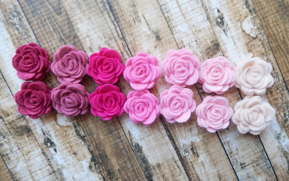 Wool Felt Pink Posies - Dimensional Flowers - The Original Mini Wool Felt Posies - Set of 14