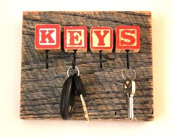 Red Block Barn Lumber Key Rack