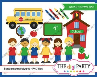 school clipart commerical use for paper crafts clip art instant download, teacher back to school