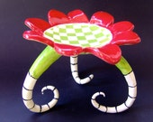 Watermelon ceramic Candleholder whimsical pottery serving dish with long curly black & white stripe legs