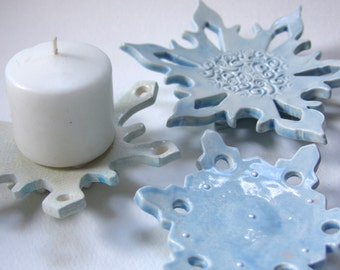 chilly ceramic snowflake hostess gift set of 3 -- for candleholders, soap dish, jewelry, spoon rest