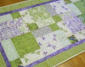 HOLD FOR BECKY - Summer Greens and Lavender Quilted Table Runner