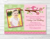 Pink Bird Birthday Invita...