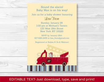 Fire Truck / Fire Engine / Firetruck  Dalmation Baby Shower Invitation INSTANT DOWNLOAD Editable PDF