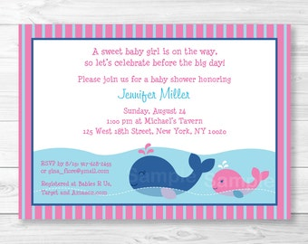 Pink Whale Baby Shower Invitation / Whale Baby Shower Invite / Pink & Navy Blue / PRINTABLE A266