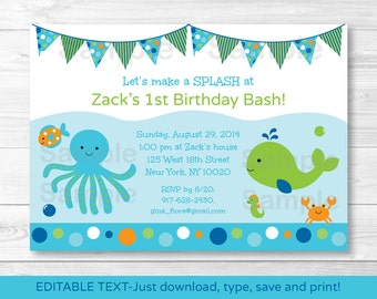 Under the Sea Birthday Invitation / Under The Sea Birthday Invite / 1st Birthday / 2nd Birthday / Any Age INSTANT DOWNLOAD Editable PDF A229