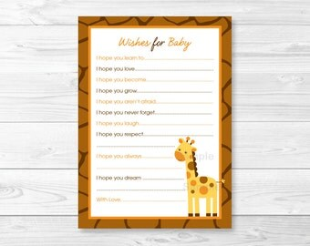 Giraffe Wishes for Baby Advice Cards INSTANT DOWNLOAD