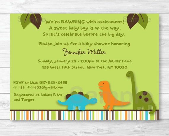 Cute Dinosaur Baby Shower Invitation Dinosaur Baby Shower Invite
