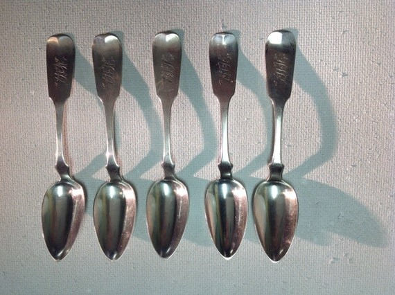 1850 Set of New York City Coin Silver Fiddleback Spoons by Bela and Seth Squire